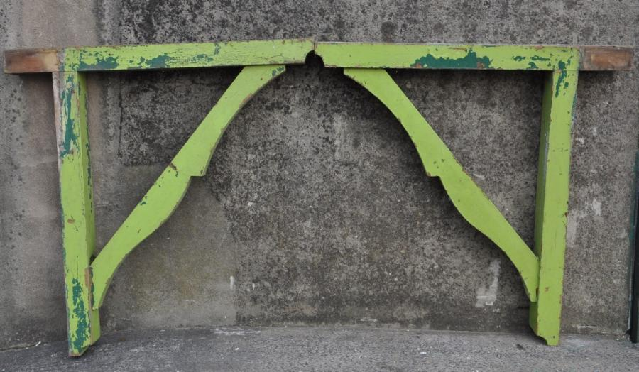 pair antique pine porch canopy brackets