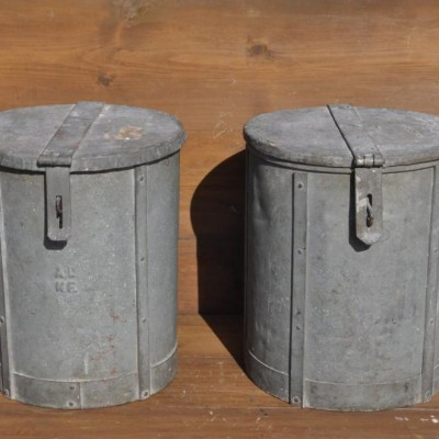 vintage pair of  rivetted galvanised bins