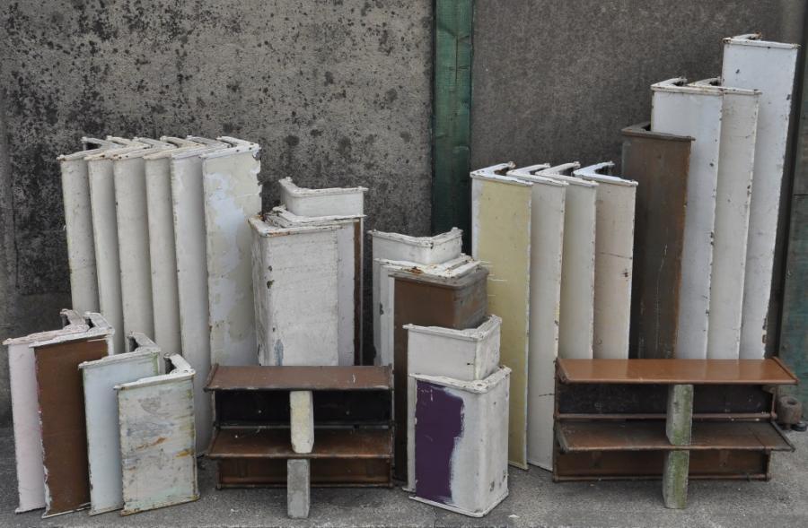 1920s radiator /  wall mounted shelves