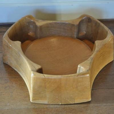 Unusually shaped large 1940/50s oak church bowl
