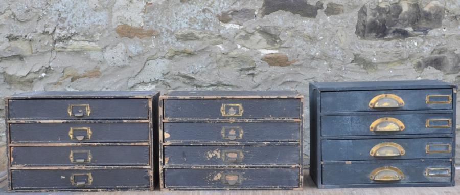 vintage pine nests of office drawers