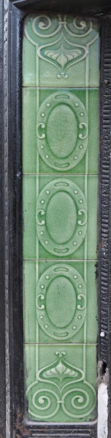 pair tiled art nouveau fireplace inserts