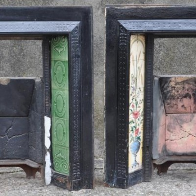 pair tiled art nouveau fireplace inserts