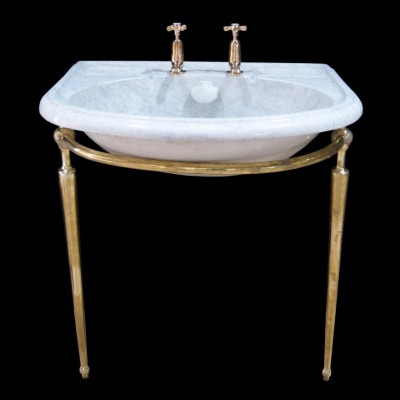 A late 19th century marbleised Sink / basin on stand