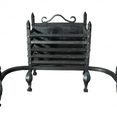 A late 19th century wrought iron fire basket / grate