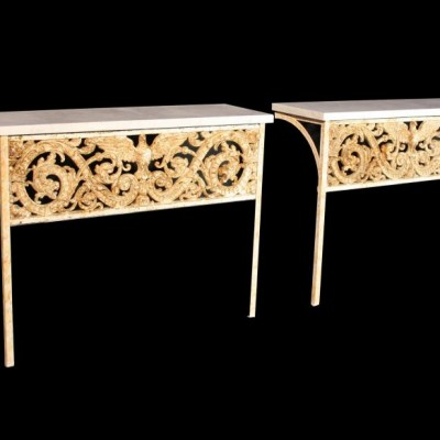 A pair of marble topped console tables