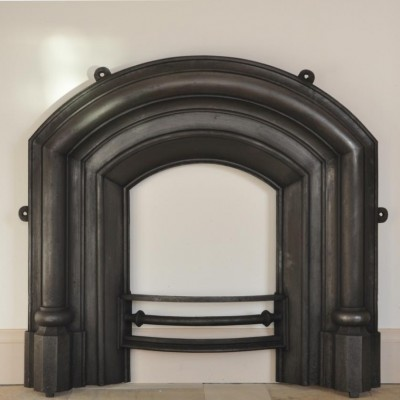 unusual antique gothic cast iron arched fireplace