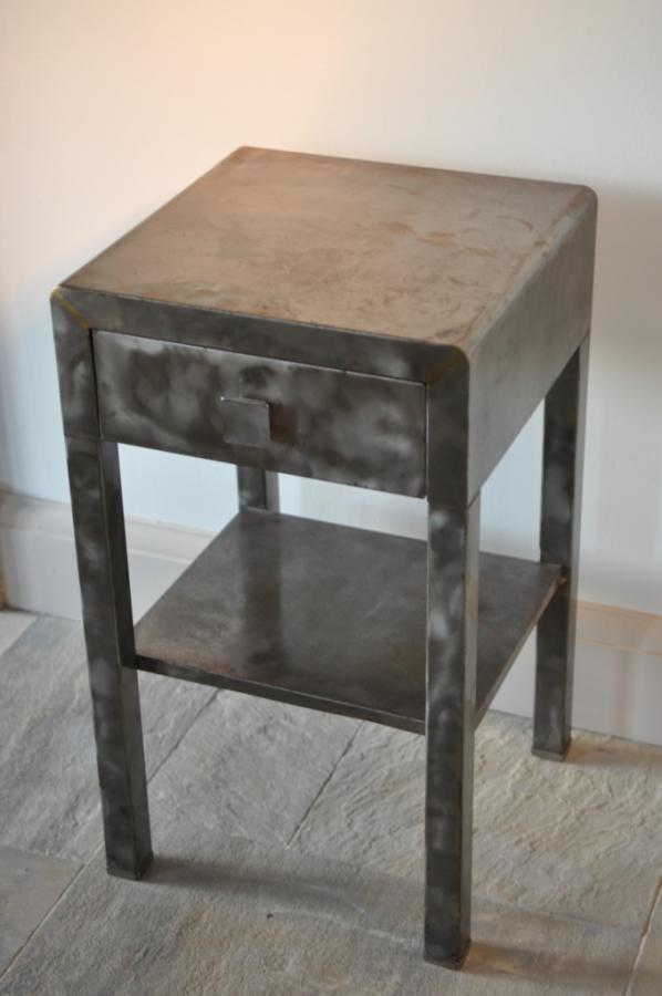 1920s steel bedside, bathroom or occasional table with drawer