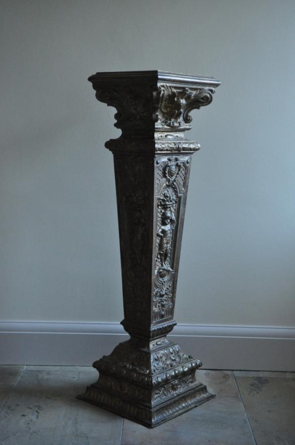 ornate victorian brass repousse pedestal column stand