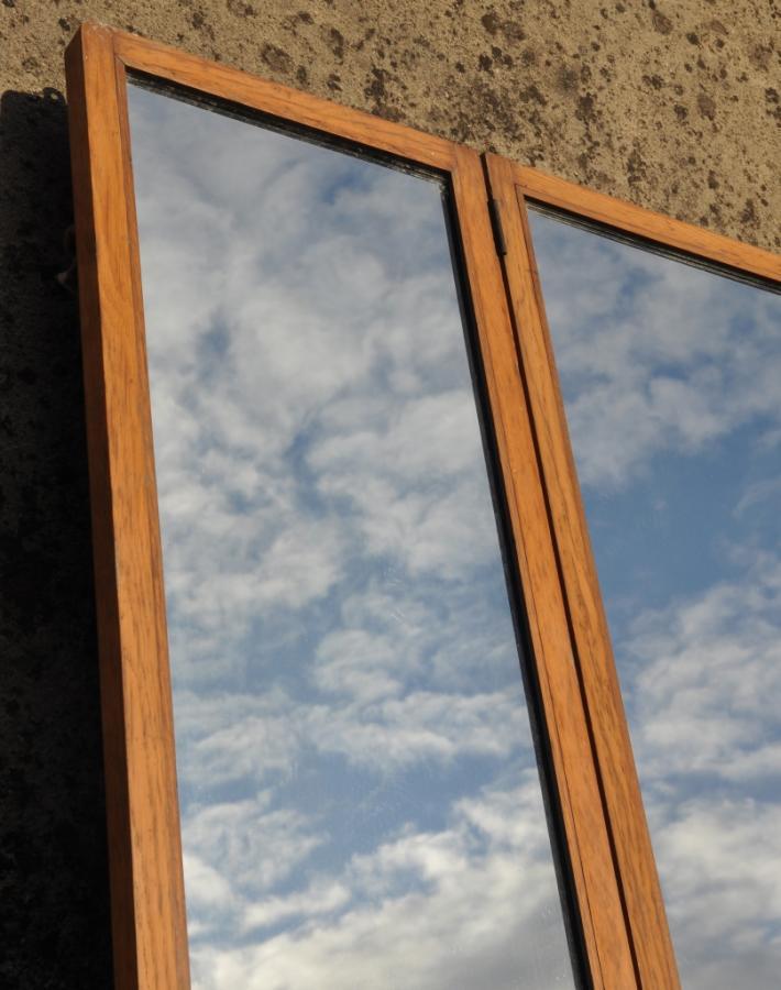 Large antique vintage oak framed shop or tailors mirror