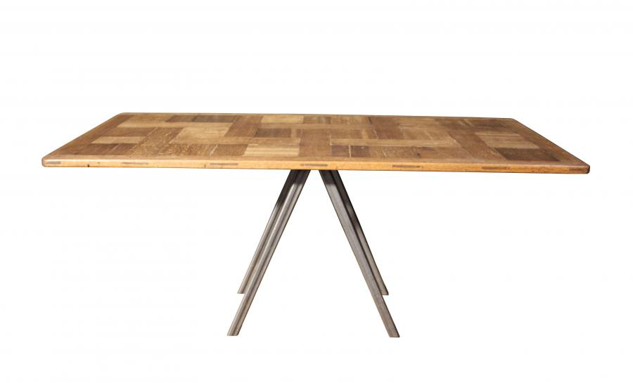 A sculptural oak and steel table / desk