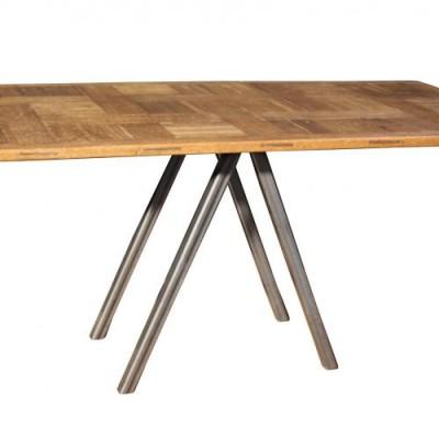 A sculptural oak and steel table / desk