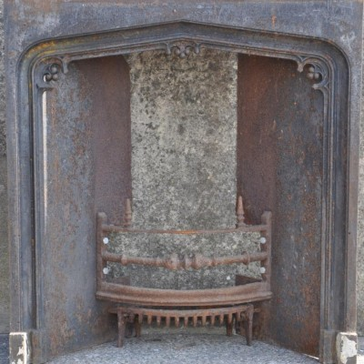 antique cast iron gothic fireplace insert