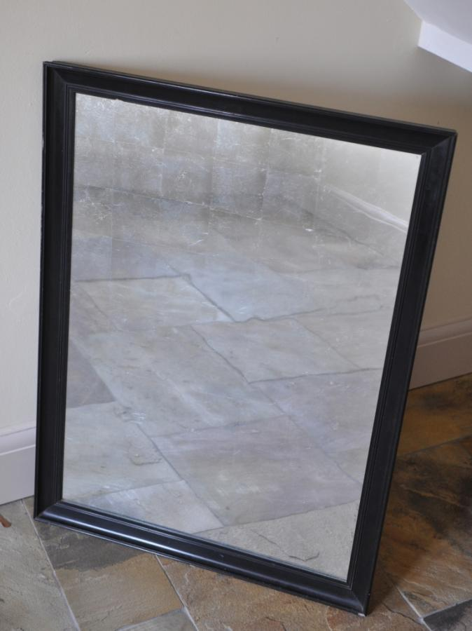 antique ebonised frame mirror