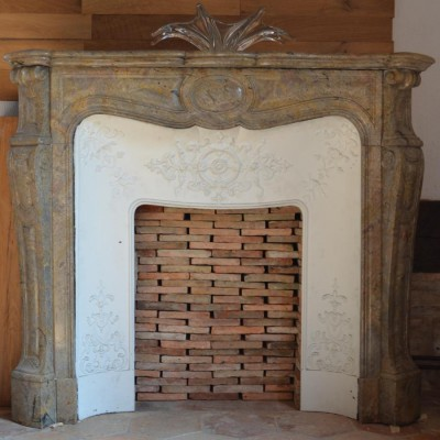cheminee en marbre rose - antique French pink marble fireplace