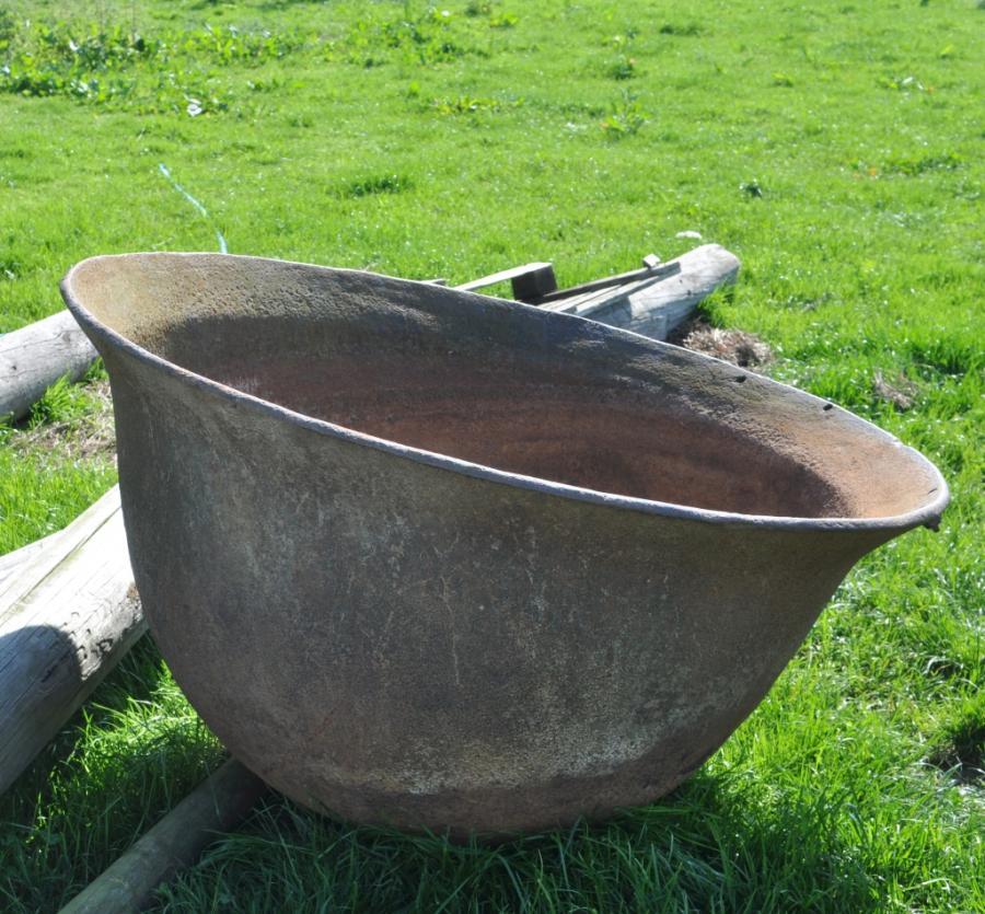 large antique cast iron vat vessel boiler-approx 4.5 feet diam'