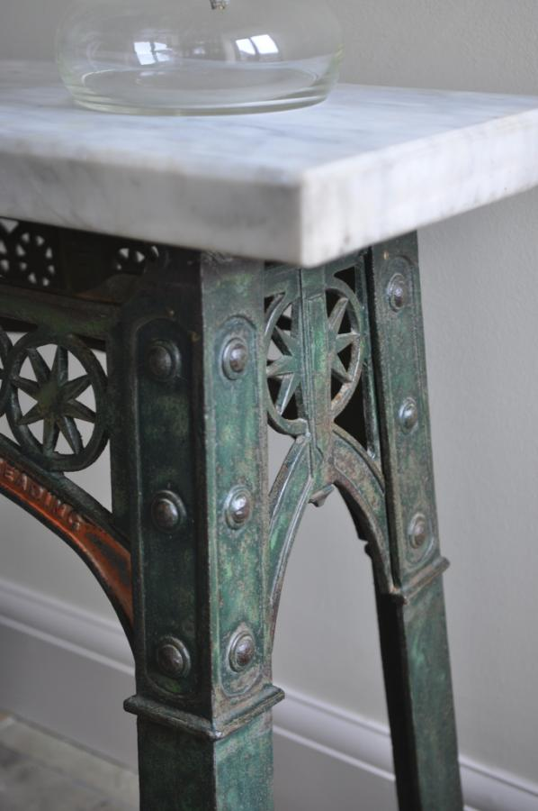 antique industrial console side table table