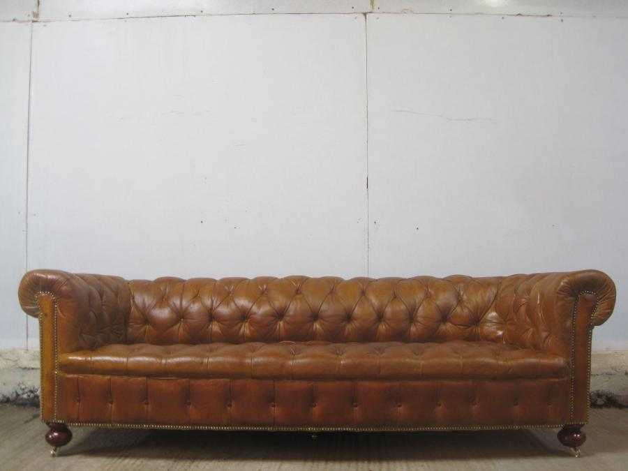 For Sale Antique victorian 8ft long leather chesterfield 5 seater ...
