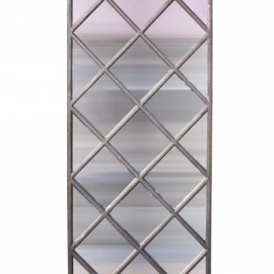 A cast iron window frame mirror