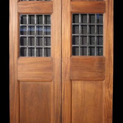 A pair of late 19th C. part glazed Mahogany double doors