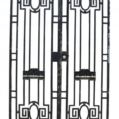 A pair of antique wrought iron pedestrian gates