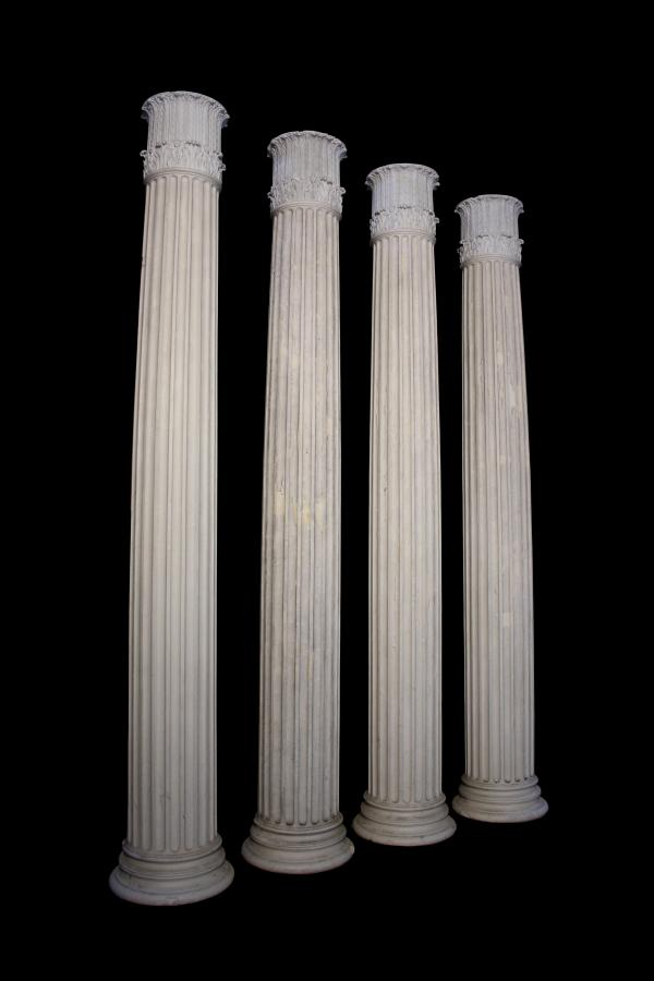 "Four 10'6"" fluted columns from Benacre Hall C.1927"