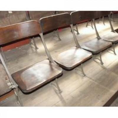 oak +cast iron folding chairs circa 1850