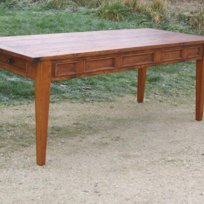 French style panelled tapered leg table made in pine