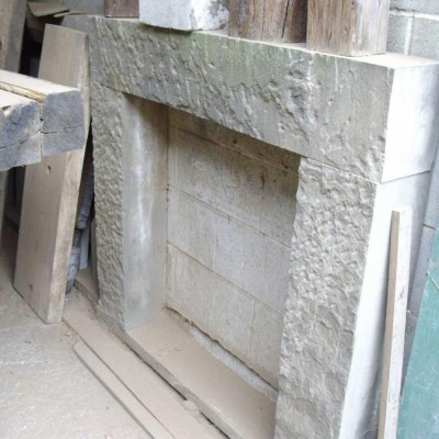 Stone fire place surround - rough face - legs & lintel