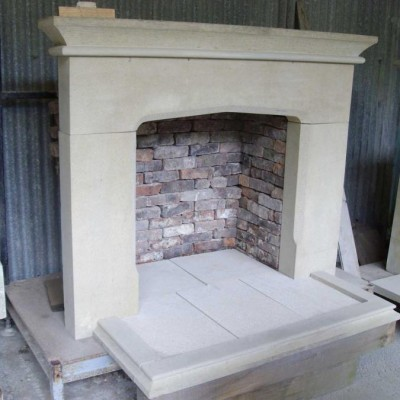 Stone smooth face fire surround, back and hearth