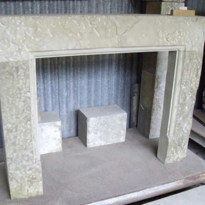 Fire place - punched face stone: lintel & legs only