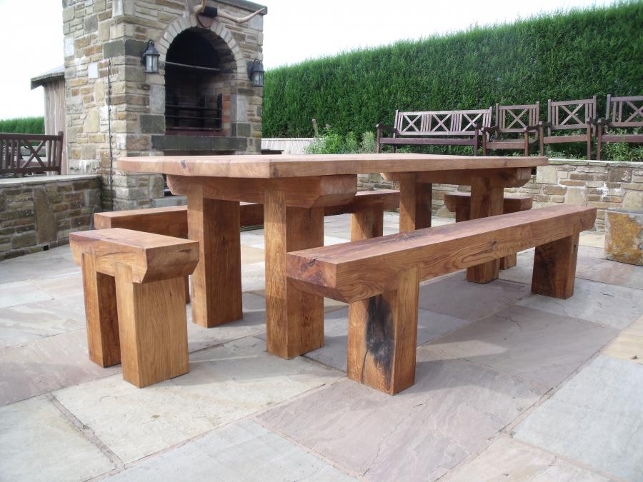 "Dining Table & bench setTable Garden Refectory Heavy Solid Oak 7 ' 0""  Bespoke Hand Crafted 2 long benches & 2 end stools"