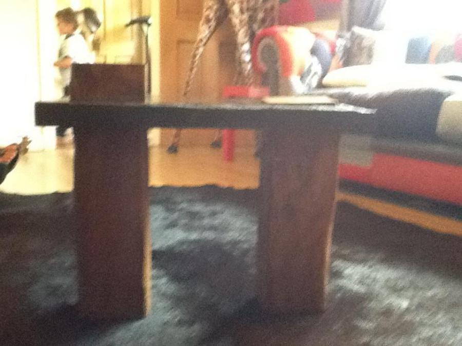 Reclaimed welsh slate & pit props coffee table