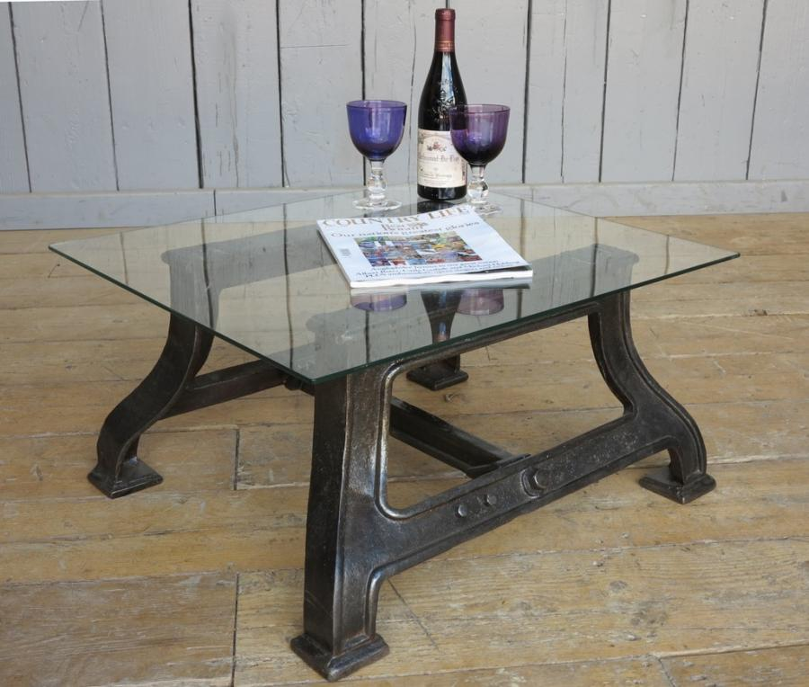 recraft + upcycled industrial glass & cast iron coffee table