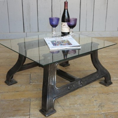 Industrial Glass & Cast Iron Coffee Table