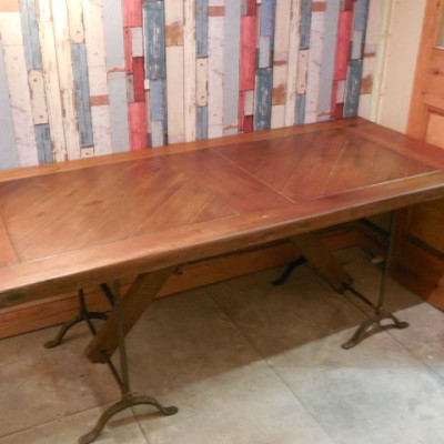 salvaged oak dining table {old ships door}