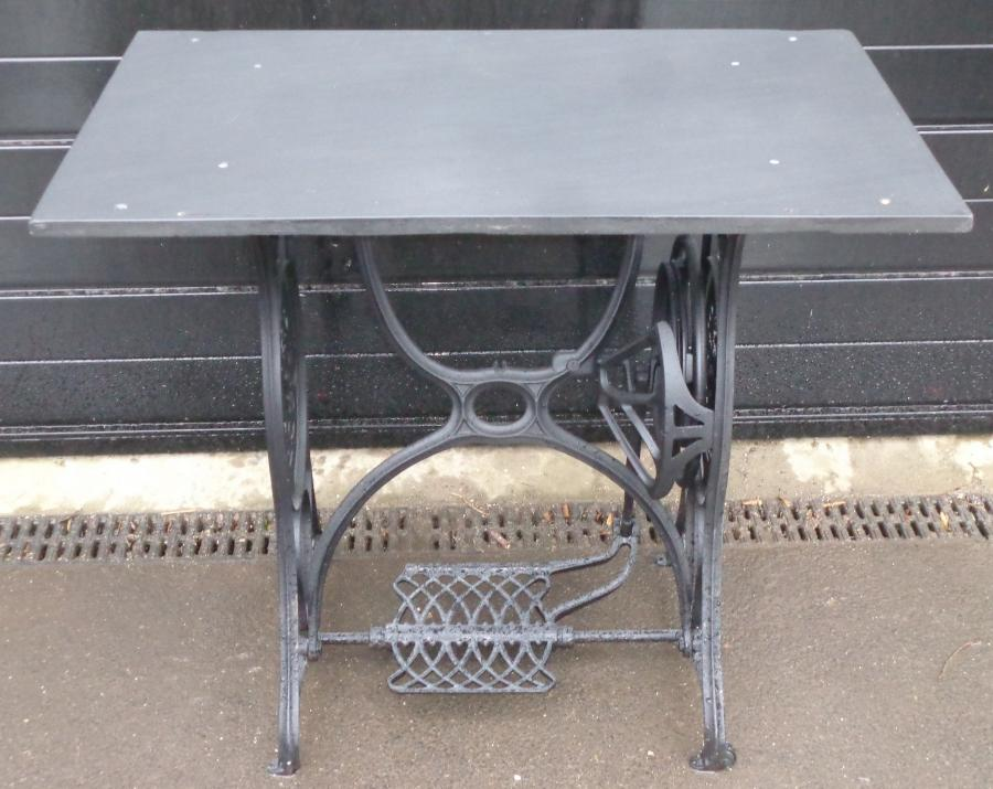 Cast iron sewing machine base & slate table
