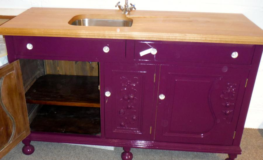 Sink unit with oak top