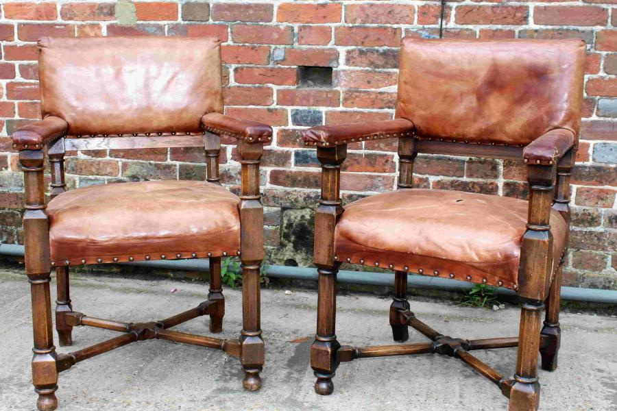 Leather Chairs (Pair)