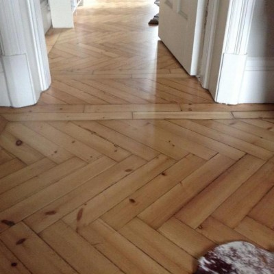 "Reclaimed pine parquet 18"" long"