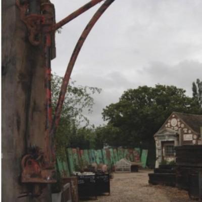 Reclaimed wrought iron warehouse crane