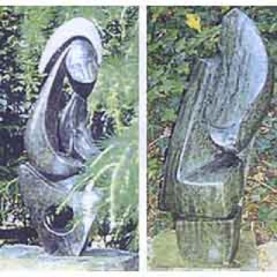 Modern sculptures of Green man and Sitting woman