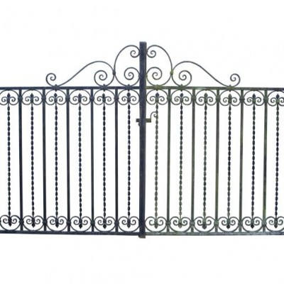 A pair of ornate early 20th C. wrought iron drive gates