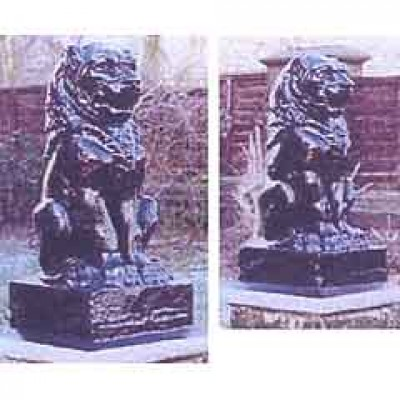 PAIR OF STONE OR CONCRETE LIONS