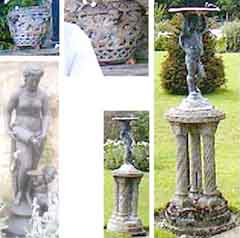 Bird baths, planters and statuary