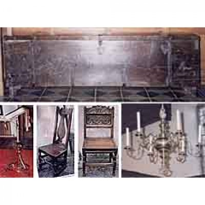 Lectern, chandelier, coffer, chairs