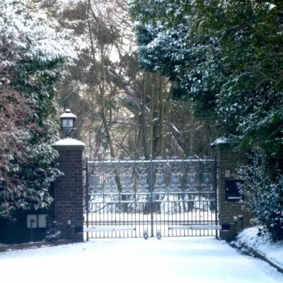 Pair of heavy wrought iron entrance gates