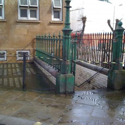 Walter MacFarlane cast iron entrance gate & posts, railings, etc