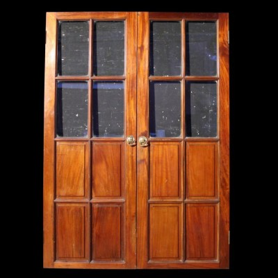 A pair of late 19th C. glazed Mahogany double doors
