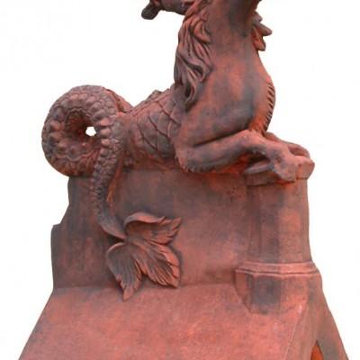 Roof Finial Twin Headed Horse/Serpent decorative ridge tile